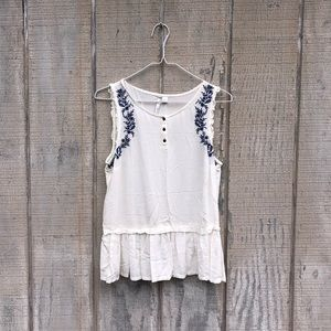 {LC Lauren Conrad} White Embroidered Tank! Sz S